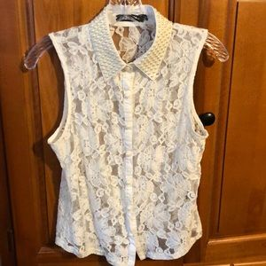 Pearl accent lace top